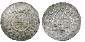 Germany. Duchy of Bavaria. Heinrich IV (II) 1002-1009. AR Denar (21mm, 1.57g). Neuburg mint; moneyer Diotp. +NIVVAN CIVITAS, cross with three pellets ...