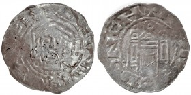 Germany. Duchy of Bavaria. Henry IV 1056-65. AR Denar (20mm, 1.08g). Regensburg mint. Crowned bust facing / Church façade, two domed side-towers. Hahn...