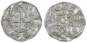 Germany. Cologne. Otto III 983-1002. AR Denar (20mm, 1.22g). Cologne mint. + ODDO + REX, cross with pellets in each angle / S / COLONII / A, Cologne m...