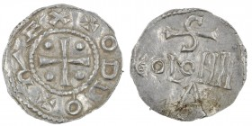 Germany. Cologne. Otto III 983-1002. AR Denar (19mm, 1.24g). Cologne mint. + ODDO + REX, cross with pellets in each angle / S / COLONII / A, Cologne m...