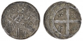 Germany. Cologne. Reinald von Dassel, 1159-1167, AR pfennig (14mm, 0.52g). Rees mint. Bust of archbishop facing with crozier left, bible right / cross...