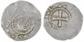 Germany. Duchy of Franconia. Otto III. 983-1002. AR Denar (17mm, 1.00g). Würzburg mint. [S• KILI]ANV[S], head of St. Kilian right / [OTT]OREX, cross. ...