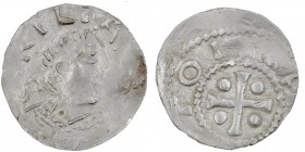 Germany. Duchy of Franconia. Otto III 983-1002. AR Denar (17mm, 0.93g). Würzburg mint. S • KILIA[NV], bust of St. Kilian right / [+ OT]TO I[M PE], cro...