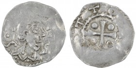Germany. Duchy of Franconia. Otto III. 983-1002. AR Denar (18mm, 1.24g). Würzburg mint. S • [KILIANV], bust of St. Kilian right / [+]OTTO [IM PE], cro...