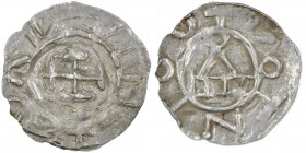 Germany. Konstanz. Otto III to Heinrich II 983-1002-1024. AR Denar (17mm, 0.74g). Konstanz mint. Cross potent / Church façade. Dbg. 1012 & 1838; Dbg. ...