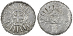 Germany. Archdiocese of Magdeburg. Anonymous. AR Denar (Sachsenpfennig) (21mm, 1.53g). Uncertain mint. Tempel with cross in center, pseudo legends / C...
