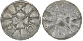 Germany. Archdiocese of Magdeburg. Anonymous. AR Denar (Sachsenpfennig) (19mm, 1.18g). Uncertain mint. Cross in center, pseudo legends. Dbg. 1329 (obv...