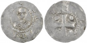 Germany. Mainz. Heinrich II 1002-1024. AR Denar (18mm, 1.71g). [+M]OGN[CA], bust facing / [+]HC[INGHV], cross with pellets in each angle. Dbg. 802; Kl...