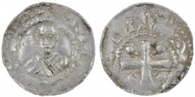Germany. Mainz. Heinrich II 1002-1024. AR Denar (18mm, 1.58g). [+MO[GNC]A, bust facing / [+HCI]NG[HV], cross with two pellets in each angle. Dbg. 802;...