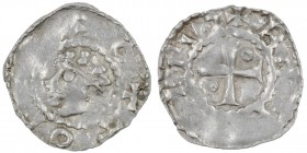 Germany. Toul Diocese. Berthold 996-1018. AR Denar (18.5mm, 1.41g). Toul mint. +OTTO R[EX], diademed head left / BE[RTOL]EVS, cross with pellet in opp...