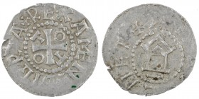 Germany. Duchy of Saxony. Gandersheim Abbey. Otto III 983-1002. AR Denar (19mm, 1.44g). +DIGR+REX AMEN, short cross, in angels O T T O / +AHTALHET, ch...
