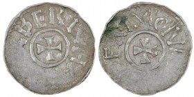 Germany. Duchy of Saxony. Bernhard I 973-1011. AR Denar (19mm, 1.15g). Bardowick (or Lüneburg or Jever?) mint. BERNHA[RDV]X, small cross pattee / DENM...