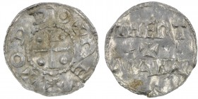 Germany. Duchy of Saxony. Otto III 983-1002. AR Denar (18mm, 1.33g). Dortmund mint. +ODDO+REX, cross with pellet in each quarter / THERT / + / MANNI, ...