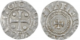 Germany. Duchy of Saxony. Otto III 983-1002. AR Denar (16mm, 1.41g). Dortmund mint. ODDO IMPERATOR, cross with pellets in each angle/ THEROTAMANI, sma...
