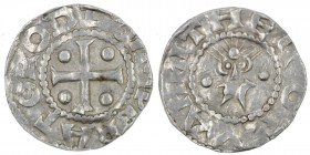 Germany. Duchy of Saxony. Otto III 983-1002. AR Denar (17mm, 1.17g). Dortmund mint. Cross with pellet in each angle / Stylized head facing. Dbg 745; B...