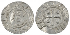Germany. Duchy of Saxony. Heinrich II 1002-1024. AR Denar (16mm, 0.87g). Dortmund mint. HENRICHVS D[_]X, head left / [T] HRO TMONI A, cross with pelle...