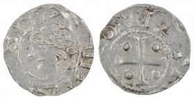 Germany. Duchy of Saxony. Heinrich II 1002-1024. AR Denar (16mm, 1.13g). Dortmund mint. Crowned head left / T H[RO TM]ONI A, cross with pellets in eac...
