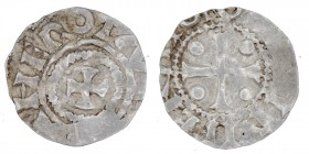 Germany. Duchy of Saxony. Otto III 983-1002. AR Denar (17mm, 1.16g). Dortmund mint. [ODDO]? IMPERATOR, cross with pellets in each angle/ THEROTA[MANI]...