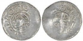 Germany. Duchy of Saxony. Goslar. Otto III 983-1002. AR Denar (18mm, 1.31g). OTTO A[DELD]EIDA, head left / [+D-I GR]A + REX, cross in angels O D D O. ...