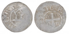 Germany. Duchy of Saxony. Goslar area. Otto III 983-1002. AR Denar (16mm, 1.39g). [D]I GR[A + REX], cross in angels O-D-D-O / [ATIA]HLHT, Λ and ω(?), ...