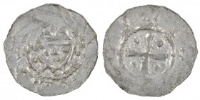 Germany. Duchy of Saxony. Hermann 1059-1086. AR Denar (19mm, 0.91g). Jever mint. Crowned head facing / Cross with pellets in each angle. Dbg. 597; Klu...
