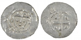 Germany. Duchy of Saxony. Hermann 1059-1086. AR Denar (18mm, 0.64g). Jever mint. Crowned head facing / Cross with pellets in each angle. Dbg. 597; Klu...