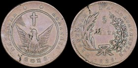 "GREECE: 5 Lepta (1828) (type A.1) in copper with phoenix with converging rays. Variety ""136-F.c"" by Peter Chase. Coin alignment. Cleaned. (Hellas 7). ..."