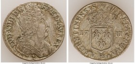 Louis XIV 11 Sols 1711-BB VF, Strasbourg mint, KM402, Gad-135 (R). 22mm. 3.00gm. Very scarce. Sold with old collector's envelope detailing provenance....