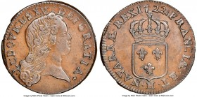 Louis XV Sol 1722-H XF45 Brown NGC, La Rochelle mint, KM439.5, Gad-276 (R). Bold strike, with minor contact marks. Rare. Sold with old collector's env...