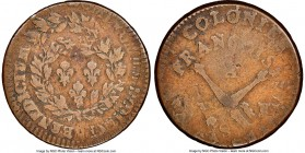 Louis XV Mint Error - Double Struck 12 Deniers (Sol or Sou) 1767-A F12 Brown NGC, Paris mint, KM6 (under French Colonies). Noticeably double struck. S...