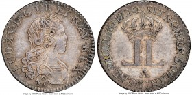 Louis XV Livre d'argent fin (1/6 Ecu) 1720-A AU58 NGC, Paris mint, KM453, Gad-296. Produced by John Law's Banque Generale as part of his program to fu...