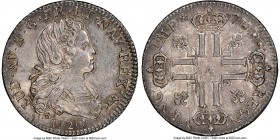 Louis XV Petit Louis d'argent (1/3 Ecu) 1720-A MS62 NGC, Paris mint, KM455.1, Gad-305. Minor adjustment marks, with noticeable luster. Sold with old c...