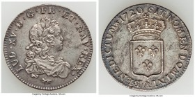 Louis XV Petit Louis d'argent (1/3 Ecu) 1720-A AU (Light Surface Hairlines), Paris mint, KM457.1, Gad-306. 28mm. 7.96gm. Sold with old collector envel...