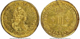 Louis XV gold Louis d'Or aux 2 L 1720-A UNC Details (Cleaned) NGC, Paris mint, KM461.1, Gad-337 (R2). Struck over Louis d'or a la croix du Saint-Espri...
