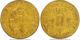 Louis XV gold Louis d'Or aux 2 L 1720-A XF Details (Cleaned) NGC, Paris mint, KM461.1, Gad-327 (R2). Uneven surfaces, with light marks, and considerab...