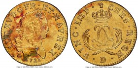 Louis XV gold Louis d'Or Mirliton 1723-D UNC Details (Saltwater Damage) NGC, Lyon mint, KM468.5, Gad-338 (R). Short palms variety. Notable obverse spo...