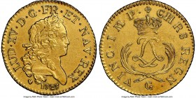 Louis XV gold Louis d'Or Mirliton 1723-G UNC Details (Saltwater Damage) NGC, Poitiers mint, KM-Unl., Gad-338 (unpriced). Short palms variety. A superb...