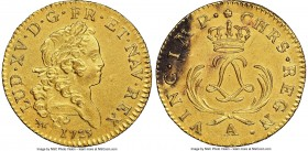 Louis XV gold Louis d'Or Mirliton 1723-A UNC Details (Saltwater Damage) NGC, Paris mint, KM470.1, Gad-338. Short palms variety. Superb details, with t...