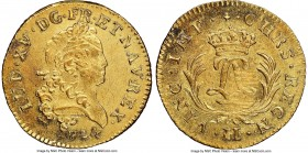 Louis XV gold Louis d'Or Mirliton 1724-H UNC Details (Saltwater Damage) NGC, La Rochelle mint, KM470.8, Gad-339 (R). Large palms variety. Light adjust...