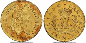 Louis XV gold Louis d'Or Mirliton 1724-N UNC Details (Saltwater Damage) NGC, Montpellier mint, KM470.13, Gad-339 (R). Large palms variety. Well struck...