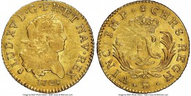 Louis XV gold Louis d'Or Mirliton 1724-S AU58 NGC, Reims mint, KM470.18, Gad-339 (R2). Large palms variety. Abundant mint luster, with a soft strike i...