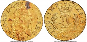 Louis XV gold Louis d'or Mirliton de Bearn 1724-(cow) AU Details (Saltwater Damage) NGC, Pau mint, KM474, Gad-339a (R4). Large palms variety. Rough fl...