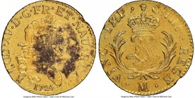 Louis XV gold Louis d'Or Mirliton 1724-M AU Details (Sea Salvaged) NGC, Toulouse mint, KM470.12, Gad-339 (R). Large palms variety. Adjustment marks on...