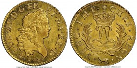 Louis XV gold Louis d'or Mirliton de Bearn 1725-(cow) MS65 NGC, Pau mint, KM470.21, Gad-339a (R5). Large palms variety. An amazing example of this elu...