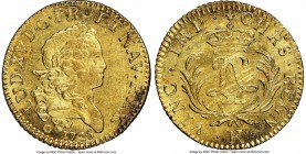 Louis XV gold Louis d'Or Mirliton 1725-K MS63 NGC, Bordeaux mint, KM470.10, Gad-339 (R). Long palms variety. Full mint brilliance, with light adjustme...
