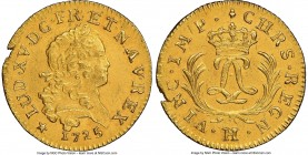 Louis XV gold Louis d'Or Mirliton 1725-H AU Details (Saltwater Damage) NGC, La Rochelle mint, KM470.8, Gad-339. Large palms variety. Normal matte salt...