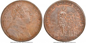 Louis XV copper Franco-American Jeton 1751-Dated AU58 Brown NGC Br-510, Lec-100. Plain edge. Coin alignment. Indian in lilies. Glossy surfaces, with a...