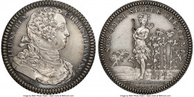 Louis XV silver Restrike Franco-American Jeton 1751-Dated MS64 NGC, cf. Br-510 (for type), Lec-104 var. (plain edge, without alligator). Plain edge (s...
