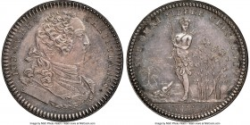 Louis XV silver Franco-American Jeton 1751-Dated MS63 NGC, Br-510 var. (with alligator), Lec-107 var. (plain edge). Plain edge. Medal alignment. Bold ...