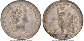 Louis XV silver Franco-American Jeton 1751-Dated AU53 NGC, Br-510 var. (with alligator), Lec-108a. Faint reeded edge. Coin alignment. Variety with all...